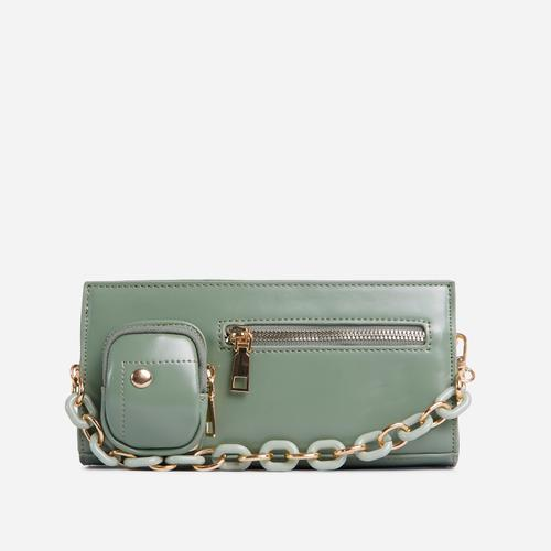 Ocean Chain And Zip Detail Shoulder Bag In Mint Green Faux Leather