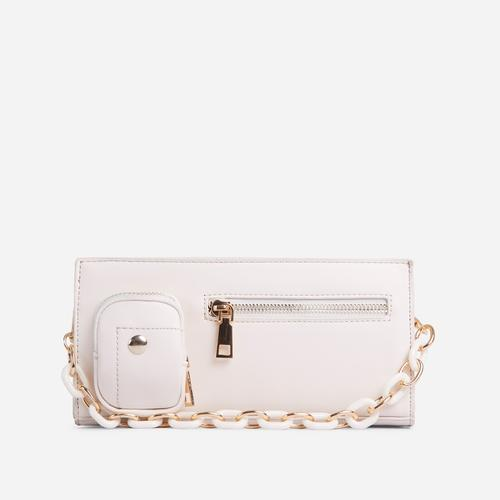Ocean Chain And Zip Detail Shoulder Bag In White Faux Leather