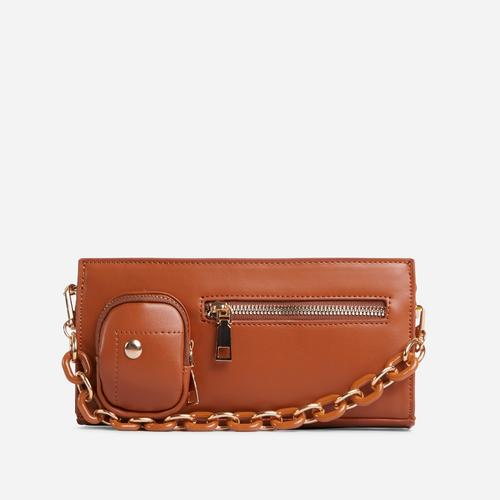 Ocean Chain And Zip Detail Shoulder Bag In Tan Brown Faux Leather