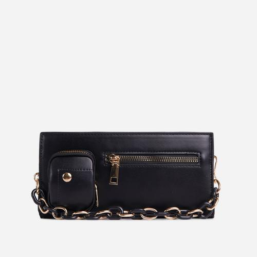 Ocean Chain And Zip Detail Shoulder Bag In Black Faux Leather