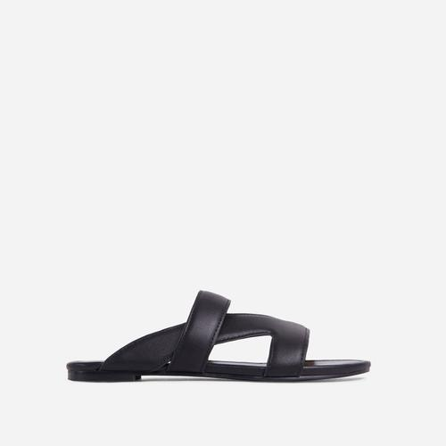 Ettika Multi Strap Detail Flat Slider Sandal In Black Faux Leather