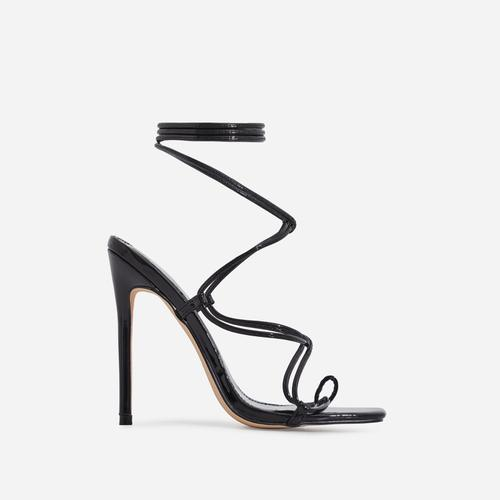 Paris Square Toe Lace Up Heel In Black Patent