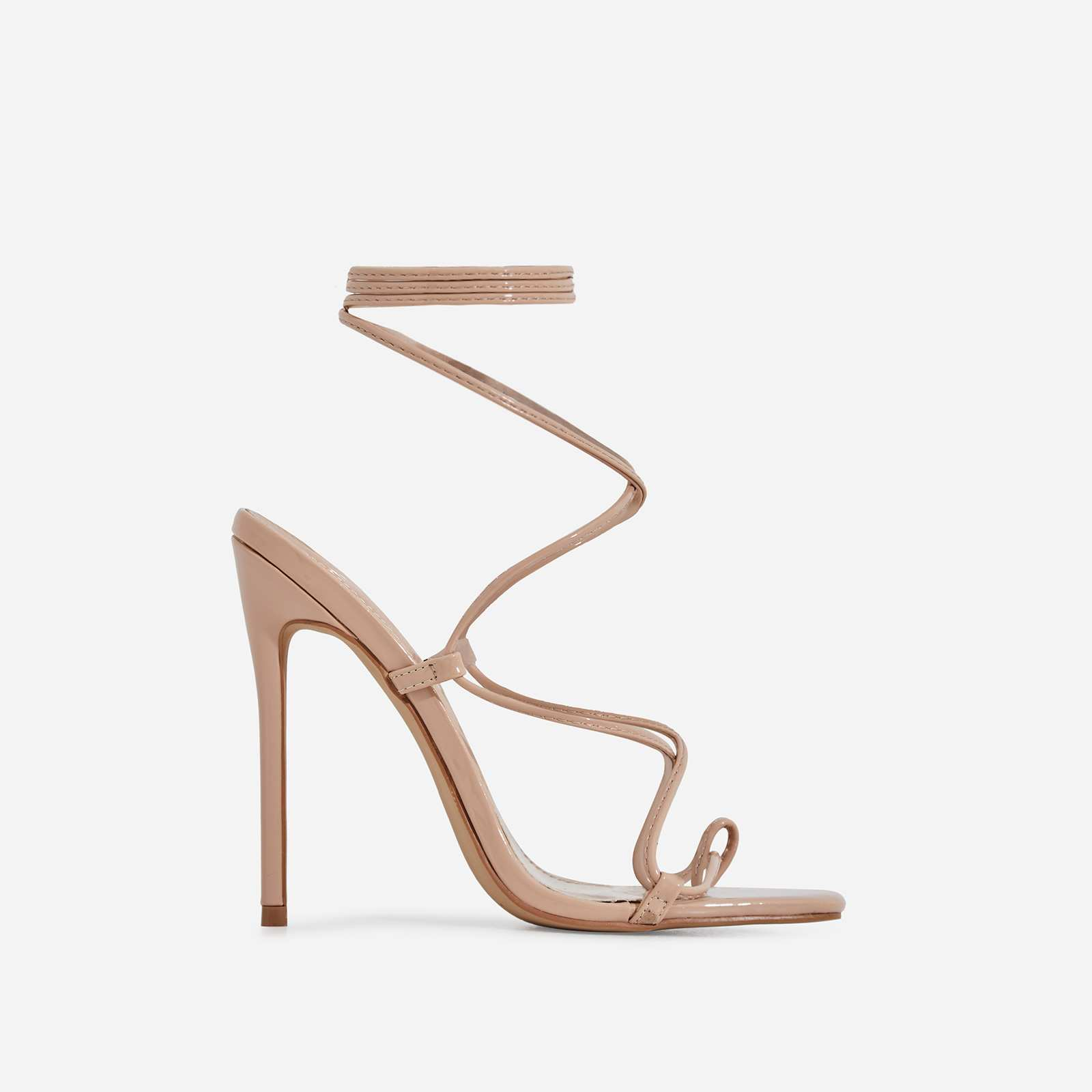 Paris Square Toe Lace Up Heel In Nude Patent