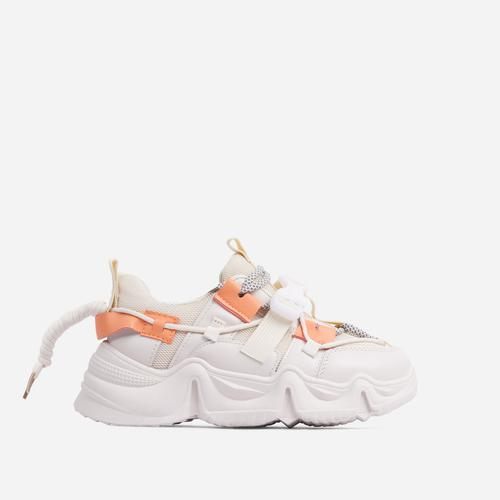Gang Buckle Detail Double Lace Up Chunky Sole Trainer In Nude