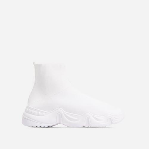 Atlas Chunky Sole Sock Trainer In White Knit