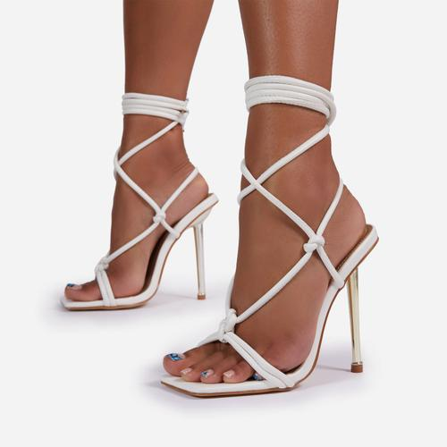 Orbit Lace Up Knotted Detail Square Toe Metallic Heel In White Faux Leather