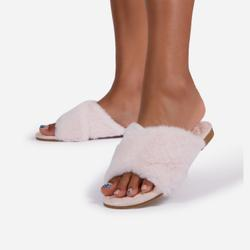 Mist Fluffy Faux Fur Cross Over Strap Flat Slider Sandal In Quilted Blush Pink Faux Leather