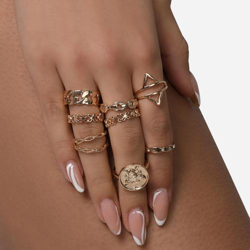 Chain And Sovereign Multi Pack Rings In Gold