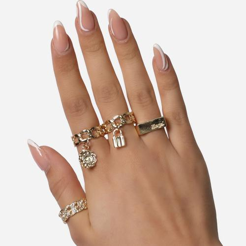 Chain And Padlock Detail Multi Pack Rings In Gold