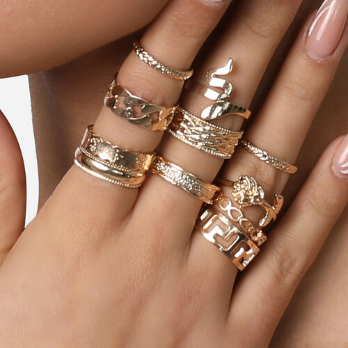 Snake Detail Multi Pack Rings In Gold