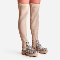 Colorado Knitted Over The Knee Thigh High Long Sock Boot In Nude Snake Print Faux Leather