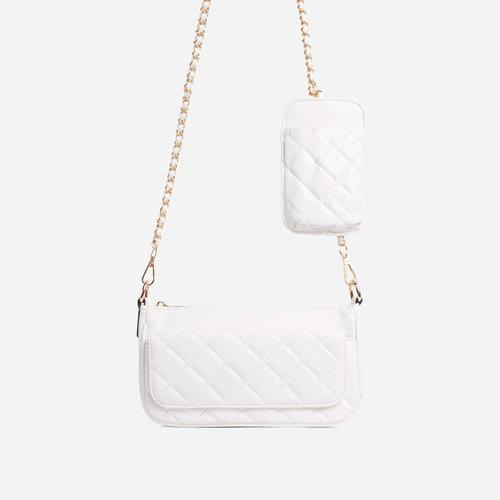 Ryan Phone Pocket Pouch Quilted Cross Body Bag In White Faux Leather