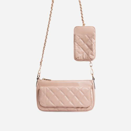 Ryan Phone Pocket Pouch Quilted Cross Body Bag In Nude Faux Leather