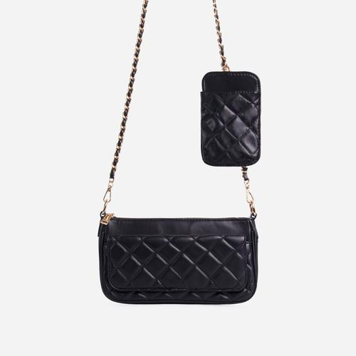 Ryan Phone Pocket Pouch Quilted Cross Body Bag In Black Faux Leather