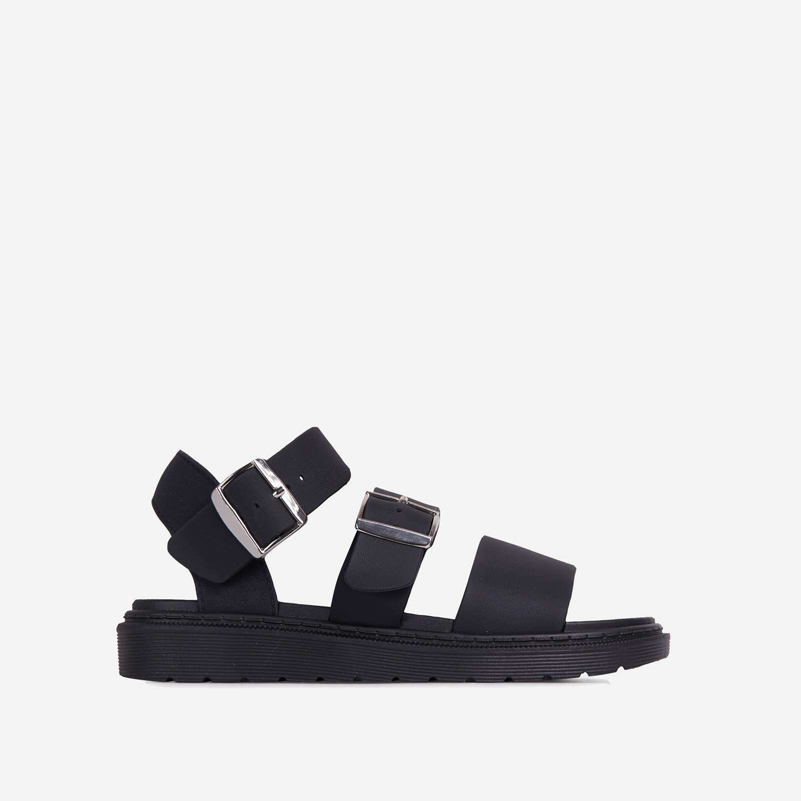 Minty Chunky Sole Flat Gladiator Sandal In Black Rubber