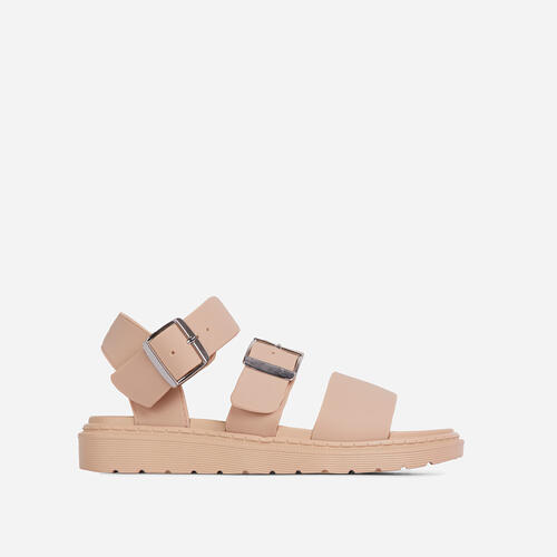 Minty Chunky Sole Flat Gladiator Sandal In Nude Rubber