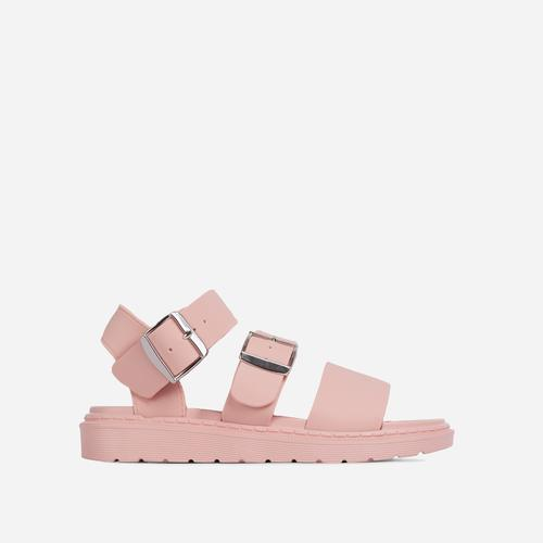 Minty Chunky Sole Flat Gladiator Sandal In Pink  Rubber