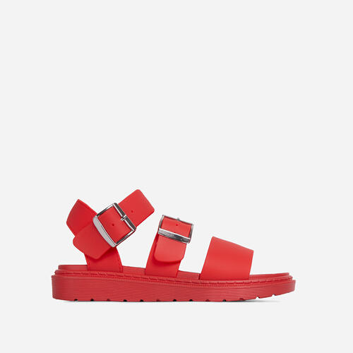 Minty Chunky Sole Flat Gladiator Sandal In Red Rubber