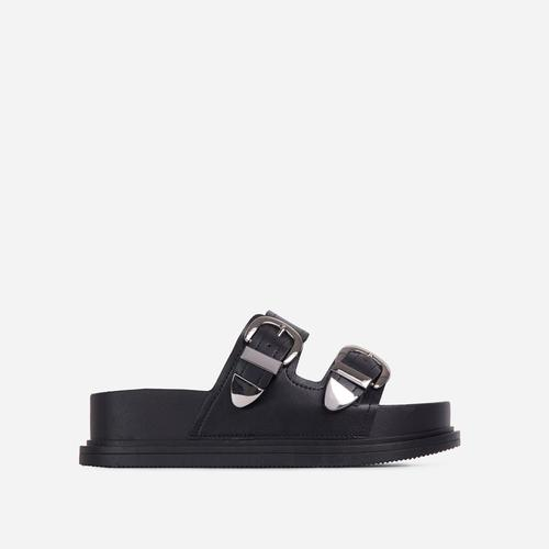 Kym Buckle Detail Chunky Sole Flat Slide Sandal In Black Faux Leather