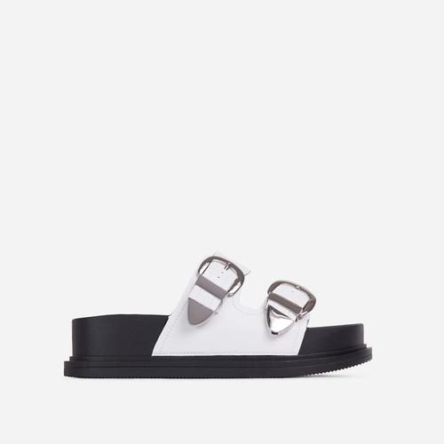 Kym Buckle Detail Chunky Sole Flat Slide Sandal In White Faux Leather
