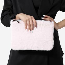 Clutch Bag In Pink Faux Fur
