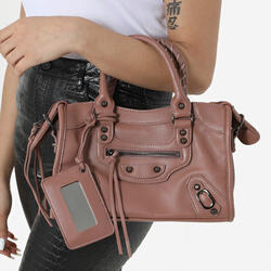 Buckle Detail City Bag In Pink Faux Leather