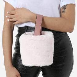 Bucket Bag In Pink Faux Fur