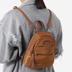 Mini Back Pack In Tan Brown Nylon
