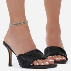 Diamante Detail Chain Anklet In Silver