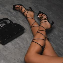 Trixie Square Toe Lace Up Kitten Heel In Black Faux Leather