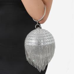 Tassel Detail Diamante Sphere Bag In Silver