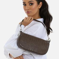 Baguette Bag In Tan Brown Print Faux Leather