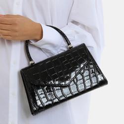 Chain Detail Boxy Handbag In Black Croc Print Patent