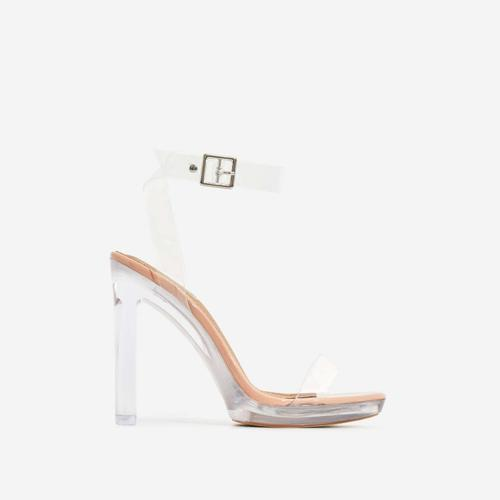 Icy Platform Barely There Perspex Thin Block Clear Heel In Nude Patent