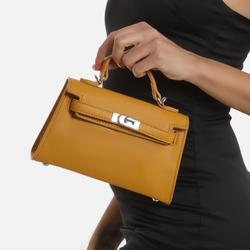 Lock Detail Mini Tote Bag In Mustard Yellow Faux Leather