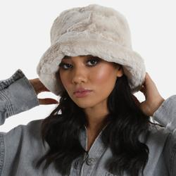 Bucket Hat In Nude Faux Fur