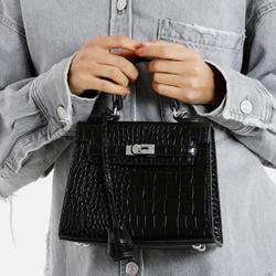 Lock Detail Tote Bag In Black Croc Print Faux Leather