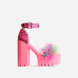 Pepper Platform Multi Fluffy Detail Block Heel In Pink Snake Print Faux Leather