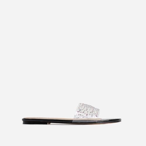 Stunning Diamante Detail Clear Perspex Flat Sandal In Black Patent