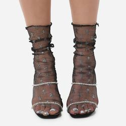 Glitter Star Detail Socks In Black Mesh