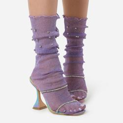 Pearl Detail Socks In Purple Mesh