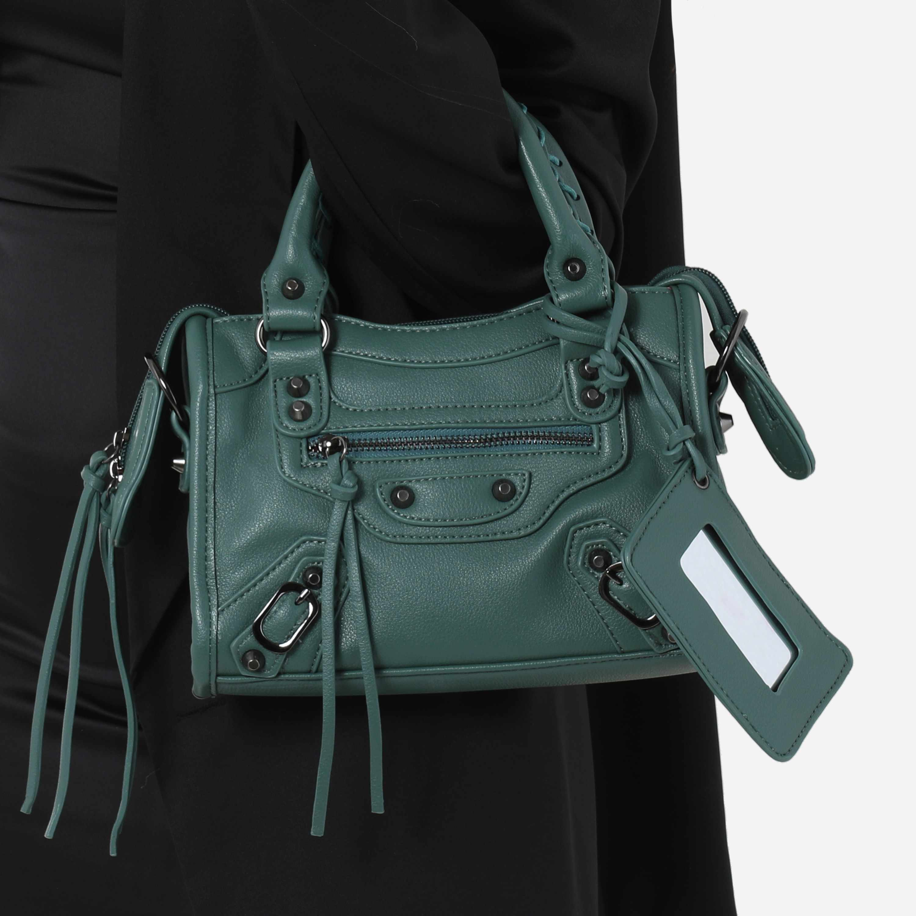Buckle Detail Mini City Bag In Green Faux Leather