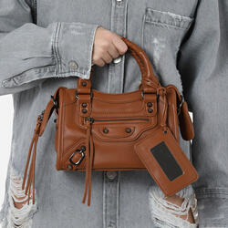 Buckle Detail Mini City Bag In Tan Faux Leather