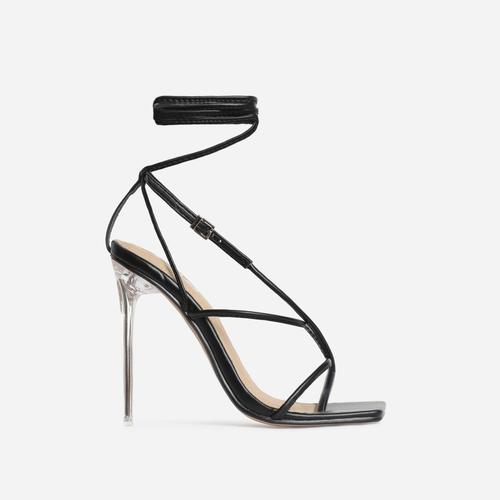 True Square Toe Lace Up Clear Perspex Heel In Black Faux Leather