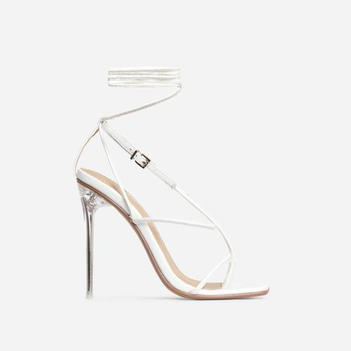 True Square Toe Lace Up Clear Perspex Heel In White Faux Leather