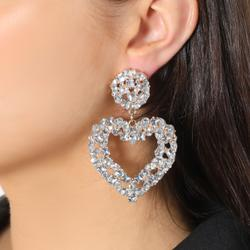 Chunky Diamante Heart Earrings In Silver