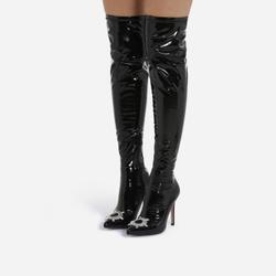 Posy Diamante Detail Over The Knee Thigh High Long Sock Boot In Black Patent