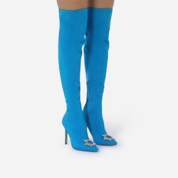 Posy Diamante Detail Over The Knee Thigh High Long Sock Boot In Blue Lycra