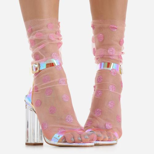 Polka Dot Socks In Pink Mesh