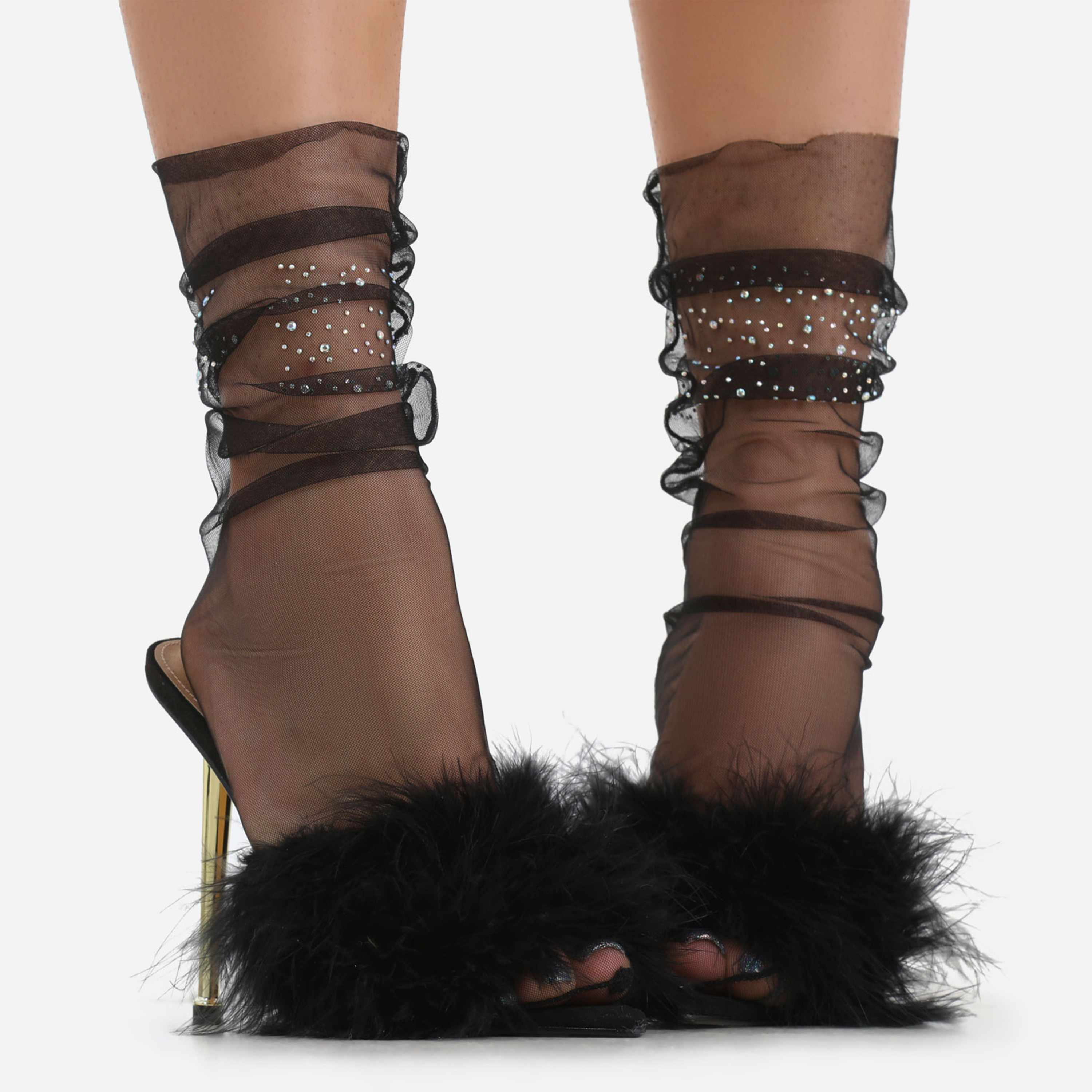 Diamante Detail Socks In Black Mesh